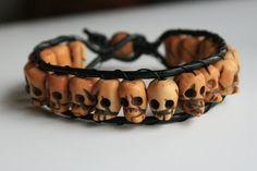 Skull Bracelet with Leather by clroavieg on DeviantArt