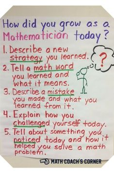 Student Self-Reflection Anchor chart for helping students purposefully self-reflect on learning. Growth mindset in math.Anchor chart for helping students purposefully self-reflect on learning. Growth mindset in math. Maths Guidés, Math Classroom, Teaching Math, Math Teacher, Math Fractions, Classroom Ideas, Assessment For Learning, Math 5, Learning Goals