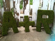 Moss Covered Letters for wedding or home decor  small by AlRoad, $14.00