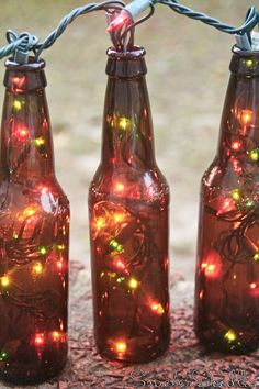 Beer Bottle Christmas Lights - for our back porch. We will throw in a few wine bottles too.