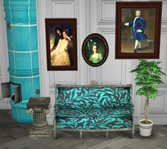 Some recolors to start the new year: fireplace, sofa and 3 paintings. Download