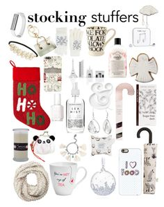 """""""stocking stuffers"""" by aleger-1 ❤ liked on Polyvore featuring North Pole Trading Co., MANGO, Happy Plugs, Harrods, Cara, Cejon, Fits, Furla, Artisan Du Chocolat and Casetify"""