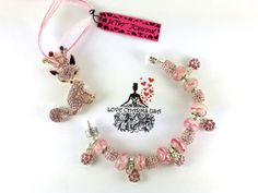 A Betsey Johnson Pink Rhinestone Fox with Crown Pendant with Pandora Style European Charm Bracelet by LoveCharmsUSA