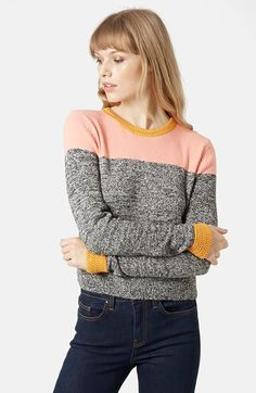Topshop Colorblock Space Dye Sweater (Brit Pop-In) available at #Nordstrom