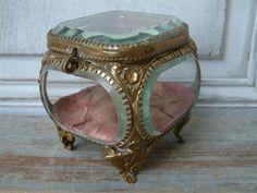 Antique Glass Casket Beveled Glass Jewelry Box Glass jewellery