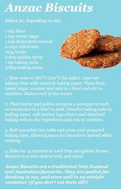A must on Anzac Day ♥Anzac biscuits recipe Aussie Food, Australian Food, Australian Recipes, Baking Recipes, Cookie Recipes, Dessert Recipes, Tea Cakes, Shortbread, Biscotti