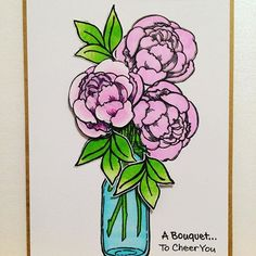 A gorgeous flower bouquet card created by @theverycraftykat with their Chameleon Pens and peonies from @stampendous .  #peonies #pink #masonjar #flowers #floral #bouquet #cheer #stamping #stamp #handmade #handcoloured #stampendous #chameleonpens #pretty