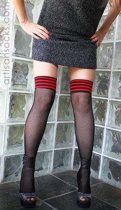 Black Thigh High Fishnet Stockings with Red and Black Striped Top from Artisan Socks www.artisansocks.com