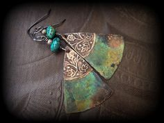 Copper Tin Turquoise Beaded Earrings by YuccaBloom on Etsy, $37.00