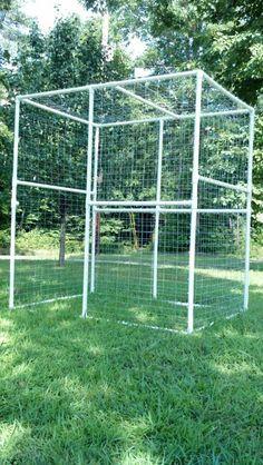 Outdoor PVC cat enclosure.