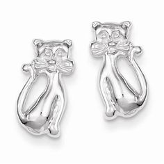 925-STERLING-SILVER-POLISHED-SMALL-CAT-LITTLE-GIRLS-POST-EARRINGS-12MM-X-14MM
