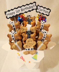 Dog birthday treat gift basket dog biscuits by TreatWorthyPet