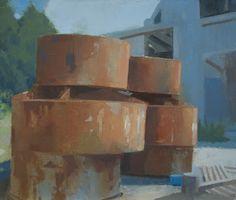 Frank Hobbs: Abandoned Factory, Near Poppi, Italy; oil on panel, 18 x 24 in.