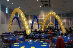 Cub scout blue and gold banquet centerpieces balloons would be
