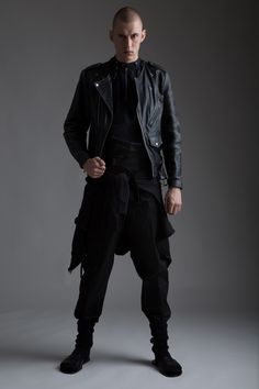 Vintage Leather Motorcycle Jacket, Yohji Yamamoto Punk Zipper Shirt and Yves Saint Laurent by Stefano Piloti Pants. Designer Clothing Dark Minimal Street Style Fashion Skinhead