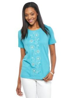 cad807a92e8980 Alfred Dunner Cozumel Floral Embroidered Knit Tee