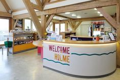 Welcome desk at Jordans Mill, Biggleswade. By Roderick James Architects.