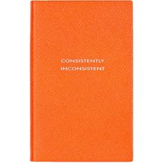 """Smythson """"Consistently Inconsistent"""" Panama Notebook (€71) ❤ liked on Polyvore featuring home, home decor, stationery, fillers, books, notebooks, stationary and orange"""