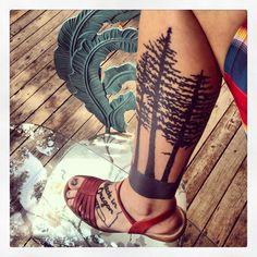 Mt. Hood tattoo / Oregon tattoo / wilderness tattoo / tree tattoo / Douglas fir tattoo / forest tattoo / NE.Perkins - Doyle Wright of Brookside Tattoo - Tulsa, Oklahoma / made in oregon tattoo / leg tattoo / NEphotoimages.com
