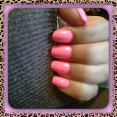 Pale neon pink nails!