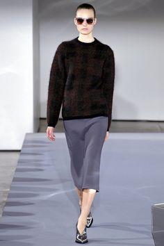 Jil Sander fall '13: plaid sweater with midi skirt