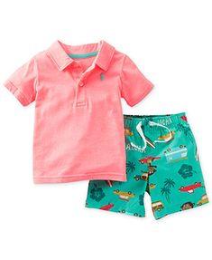 Carter's Baby Boys' 2-Piece Polo & Hawaiian Shorts Set