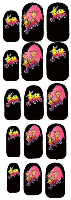 Jem and the Holograms TRULY OUTRAGEOUS nail decals Great STOCKING Stuffer. $5.00, via Etsy.