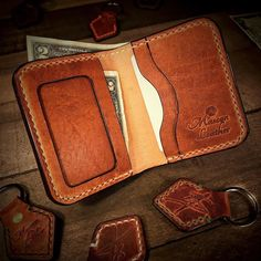 Wallets (old gallery) — Mascon Leather Leather Wallet Pattern, Handmade Leather Wallet, Leather Pouch, Leather Wallets, Leather Diy Crafts, Leather Projects, Leather Craft, Badge Wallet, Best Wallet