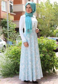 Neşe-Ceketli-Çiçek Desen Elbise-Mint-2240