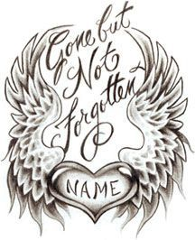 heart with wings in memory tattoo - Google Search