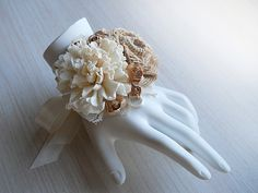 Rustic Burlap & Sola Flower Wrist Corsage handmade for Rustic, Country, Woodland Style Weddings.