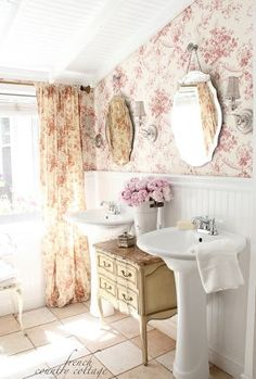 country decorating ideas, home decor, repurposing upcycling, Vintage Floral Patterns via French Country Cottage