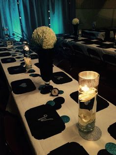 """Floating candles in bling cylinders and we cut circles for centerpiece """"runner"""" on cricut"""