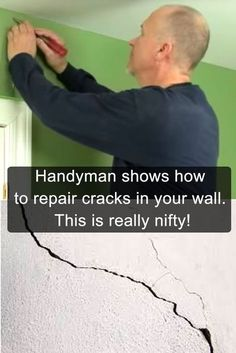 Handyman shows how to repair cracks in your wall. This is really nifty! Handyman shows how to repair cracks in your wall. This is really nifty!,Project for Hubby Here's how to repair wall cracks. Home Fix, H & M Home, Home Improvement Projects, Home Projects, Home Improvements, Drywall Repair, Plaster Repair, Diy Home Repair, Home Repairs