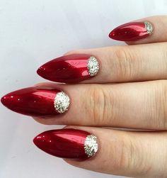 stiletto metallic red half moon