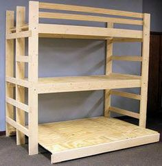 Free DIY Bunk Bed Plans & Ideas that Will Save a Lot of Bedroom Space - Here Are triple bunk bed with stairs for your cozy home - Murphy Bunk Beds, Queen Bunk Beds, Bunk Beds Boys, Cool Bunk Beds, Bunk Beds With Stairs, Kid Beds, Triple Bunk Beds Plans, Bunk Bed Plans, Murphy Bed Plans