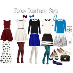 "I have a major girl-crush on Zooey Deshanel partly because I love the kinds of things she wears! I would wear these things but have never pulled together the tights and little slip on shoes part yet.  ""Zooey Deschanel Style"" by dowado on Polyvore"