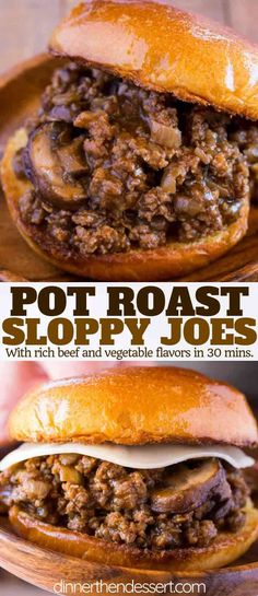 Pot Roast Sloppy Joes made with all the delicious flavors of a slow roasted pot . Pot Roast Sloppy Joes made with all the delicious flavors of a slow roasted pot roast with the ease of a sloppy joe recipe on a buttered brioche bun. Meat Recipes, Crockpot Recipes, Dinner Recipes, Cooking Recipes, Healthy Recipes, Cooking Tips, Online Recipes, Budget Cooking, Cooking Pasta