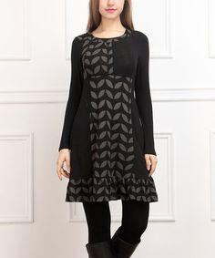 This Black Ruffle-Hem Scoop Neck Dress - Women is perfect! #zulilyfinds