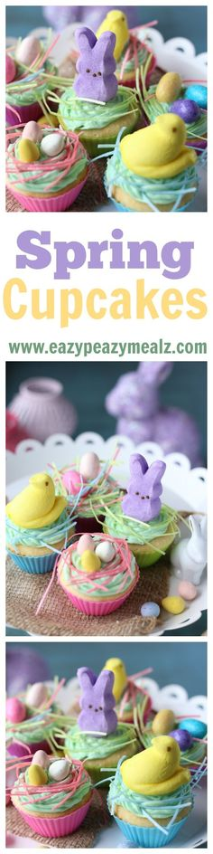 Delicious white cake topped with a vanilla butter cream icing. And then decorated with Easter treats, chocolate eggs, and Marshmallow Peeps to be darling for spring time fun! - Eazy Peazy Mealz: