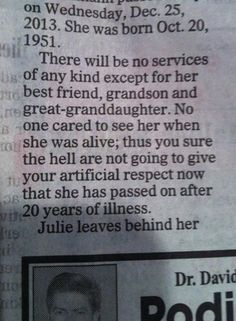 Badass obituary…artificial people don't need to be present. Toodles! lol