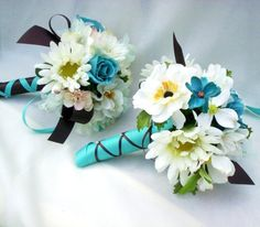 Silk flower arrangements in turquoise whites and chocolate accents!
