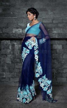 Siddartha Tyler Sari| bridal sari| blue saree