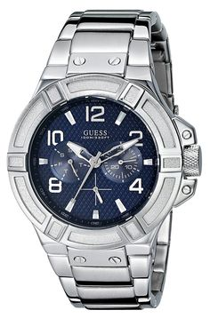 GUESS Men's U0218G2 Rigor Standout Sporty Multi-Function Watch with Blue Dial *** Find out more about the great product at the image link. (This is an Amazon Affiliate link and I receive a commission for the sales)