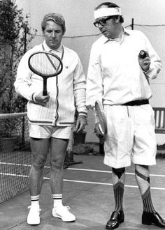 Ernie Wise and Eric Morecambe messing about on court. Comedy Actors, Comedy Duos, Actors & Actresses, British Comedy, British Humour, Vintage Tv, Vintage Tennis, Morecambe, Vintage Television