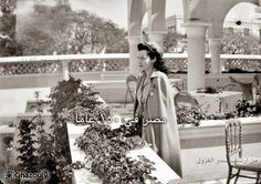 "Beautiful princess ""Fawzia"" stand in the balcony orphanage ""Muhammad Ali"" in Port Said in 1949   From the archives of Samir Ghazouly"