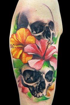 Skulls and flowers tattoo - Skullspiration.com - skull designs, art, fashion and more