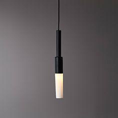 I-O-N _I_ Pendant_ Porcelain_Black Gloss_ Translucent shade.