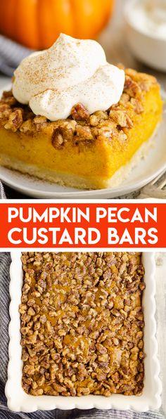 Pumpkin Pecan Custard Pie Bars are an easy and delicious dessert perfect for holiday dinner or a special treat! #PumpkinPieBars #PumpkinPecan #HolidayDessert