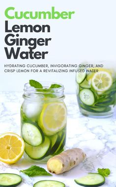 A refreshing and cleansing cucumber lemon ginger water recipe with mint. Perfect for a fat flush detox or to clear skin. My favorite healthy and invigorating spa water recipe!